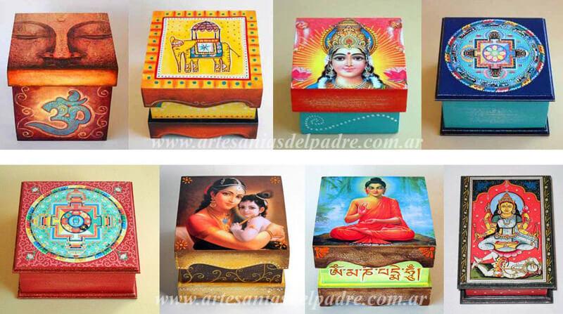 Caja Artesanal con Mandala Buda y Dioses Hindues
